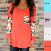 Women's printed tops cotton T-shirts with full sleeve(XS/S/M/L) = 1929989700