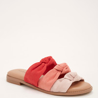 Faux Suede Knotted Slide Sandals (Wide Width)