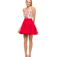 Red Embroidered Strapless Short Dress  2015 Prom Dresses