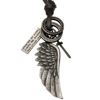 Mens Vintage Style Angel Wing Cross Leather Chain Necklace