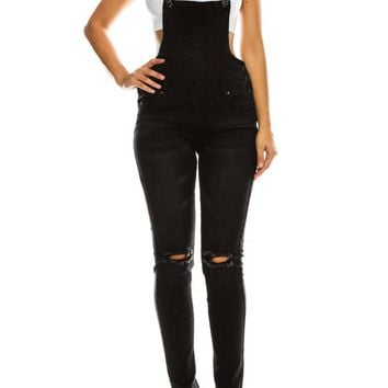 Women's Knee Slit Denim Overalls
