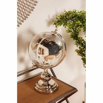 Eclectic 15 x 9 Inch Silver Glass and Aluminum Globe Sculpture | Overstock.com Shopping - The Best Deals on Accent Pieces
