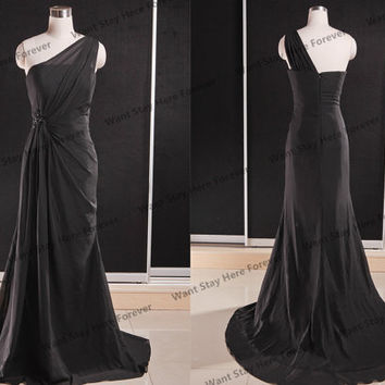 Elegant Sheer Black One Shoulder Asymetric Long Evening Gown with Train,long evening dress,long senior prom dress,formal dress,sexy prom dre
