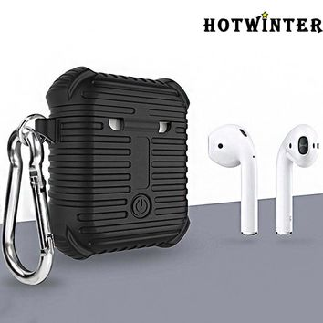 Airpods protective cover Silicone shatter-resistant armor charging box lanyard buckle wireless earphone set(No Headphones)