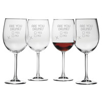 Are you Drunk? Wine Glasses (Set of Four)