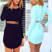 New Women Casual Mini Summer Dress O-neck Long Sleeve Mesh Waist Short Sheath Sexy Dress Plus Size 2 Colors = 1741687556