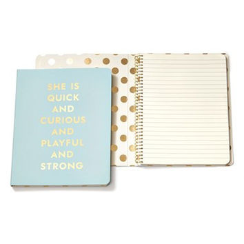 Kate Spade 'she is quick and curious' spiral notebook