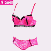 2017 French Romantic Embroidered Lace Bra Sets Sexy Women Underwear Set Push Up 34 36 38 40 ABC Cup Bra Set- Bra Panty Set