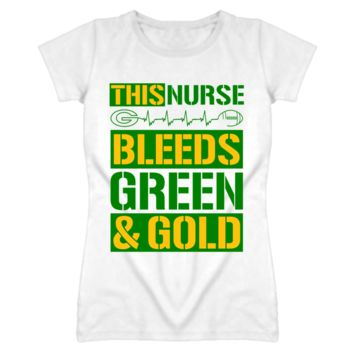 This Nurse Bleeds Green and Gold - Green Bay Packers Team Colors T Shirt