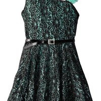 Beautees Big Girls' Asymmetrical Dress with Lace Print, Mint, 12