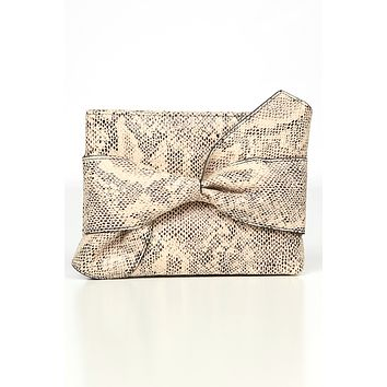 It Factor Faux Leather Crossbody Clutch (Grey Snake)