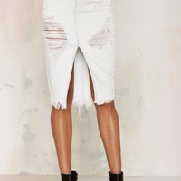 One Teaspoon Cadillac Distressed Denim Skirt