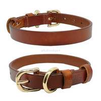 Heavy Duty Genuine Leather Dog Collar Soft Real Leather Pet  Collar Size from XS-XL  Brown Color