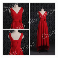 New Design A-Line V-Neck Hi-Lo Handmade Flower Piping Sexy Chiffon Bridesmaid /Party / Evening /Prom / Formal Dresses 2014