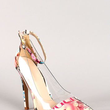 Magazine Print Lucite Ankle Strap Pointy Toe Pump