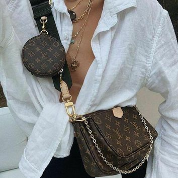 LV Louis Vuitton classic printed letters ladies three-piece mahjong bag shopping shoulder bag messenger bag round small wallet