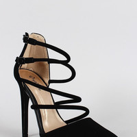 Qupid Nubuck Strappy Pointy Toe Stiletto Heel Color: Menthol, Size: 6.5