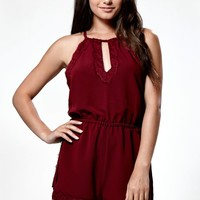 Kendall & Kylie Waist Tie Lace Trim Romper - Womens Dress - Red