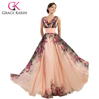 Grace Karin Prom Dress Long Flower Printed Cheap Prom Gown A Line Chiffon New Arrival Real Photo Special Occasion Dresses 2016