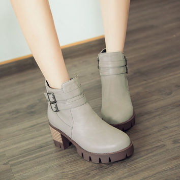 Round Toe Women Ankle Boots Pu Leather Buckle High Heels Shoes Woman 7590