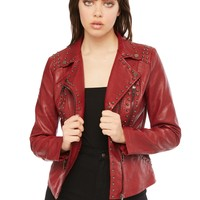 Open Road Red Studded Faux Leather Biker Jacket