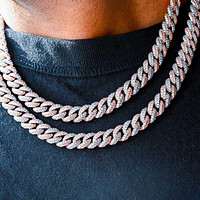 Two-Tone Cuban Link Choker (10mm) in Rose/White Gold