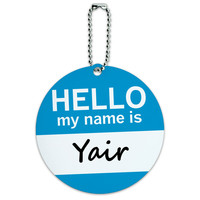 Yair Hello My Name Is Round ID Card Luggage Tag