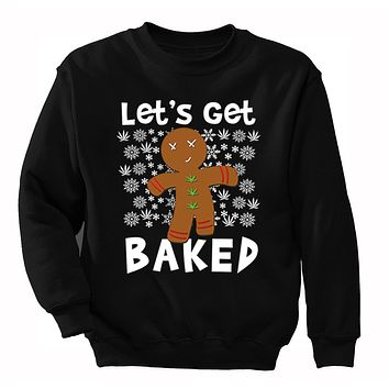 XtraFly Apparel Men's Let's Get Baked Gingerbread Cookie Ugly Christmas Pullover Crewneck-Sweatshirt