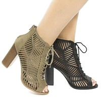 Message By Delicious, Peep Toe Geometric Cut Out Lace up Heeled Sandals