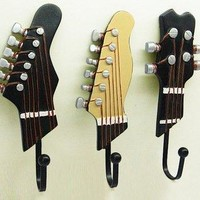Pack of 3 Hooks Towel Coat Wall Rack Hangers Guitar Shape Vintage Resin Hooks 3-Hook