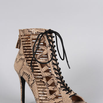Anne Michelle Python Caged Lace Up Bootie