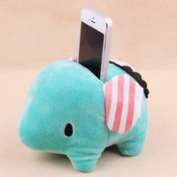 Cute Plush Elephants Shape Mobile Phone Sofa / Bean Bag Holder (Green)