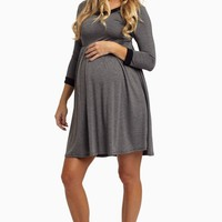 Charcoal-Black-Trim-3/4-Sleeve-Maternity-Dress