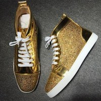 DCCK2 Cl Christian Louboutin Rhinestone Style #1950 Sneakers Fashion Shoes