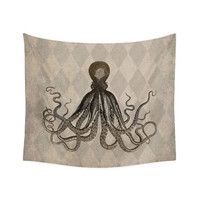 Wall Tapestry, Nautical decor, Octopus wall decor, picnic blanket, beach blanket, sofa throw, vintage style decor, tan decor, brown decor