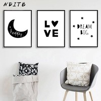 NDITB Canvas Posters Baby Nursery Decor Wall Art Prints Painting Black White Decoration Picture Nordic Kids Bedroom Decoration