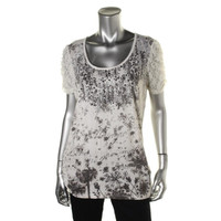 Style & Co. Womens Lace Trim Printed Pullover Top