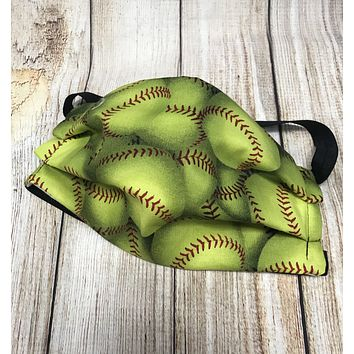 Softball Pattern Washable Face Mask - Protective Face Covering