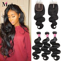 Meetu Hair Malaysian Body Wave Bundles with Closure 3 Bundles With Closure 100% Malaysian Hair Bundles with Closure Non Remy