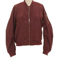 Burgundy Maroon Fashion Bomber Jacket with Gold Zipper and Lining- Fall Jacket