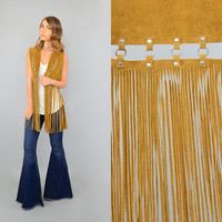 70's Leather FRINGE Cut-Out Vest