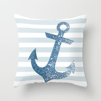 GLITTER ANCHOR IN BLUE Throw Pillow by colorstudio