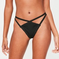 Missguided - Black Bandage Double Strap Thong