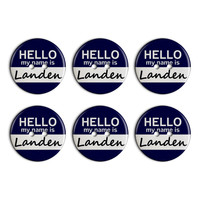Landen Hello My Name Is Plastic Resin Button Set of 6