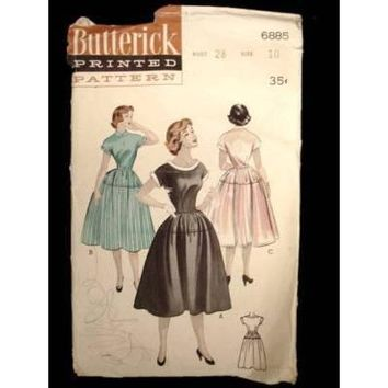 Vintage 1950s Sewing Butterick Pattern 6885 Teen Dress Size 10