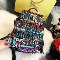 Burberry 2018 autumn and winter new color logo graffiti men and women shoulder bag