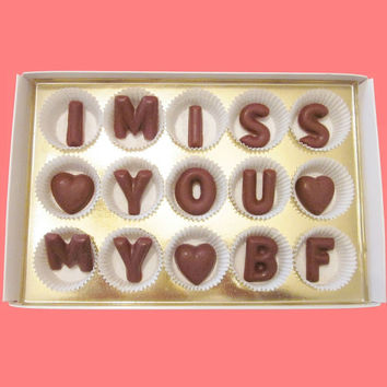 I Miss You My BF Large Milk Chocolate Letters Long Distance