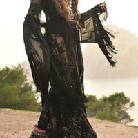Black V-Neck Sheer Lace Tasseled Maxi Dress