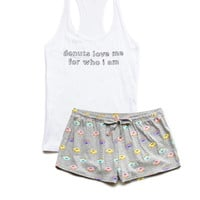 FOREVER 21 Donut Love PJ Set White/Grey