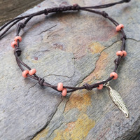 Mauve Rose Pink with Feather Anklet or Bracelet